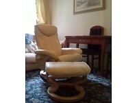 Ivory leather recliner, swivel chair with footstool