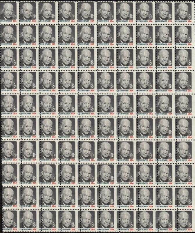"#1394 8¢ ""eisenhower"" Misperf Sheet Major Error Bq7753"