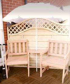 SOLID WOOD BENCH WITH INTEGRAL TABLE. PAINTED WATERPROOF GARDEN PAINT
