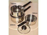 3 Saucepan set - 165mm to 205mm with glass lids