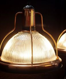 Bespoke Industrial Copper Style Glass Lamps (Pair)