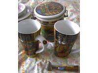 Coffee / tea caddy +2 tall mugs Bristol (Oldland Common)