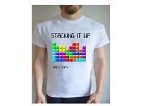 Stacking it Up Printed T Shirt Retro 80s Tetris Inspired Game Gamer Gift Geek