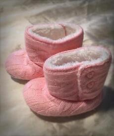 Pink soft boots size 6-9 months