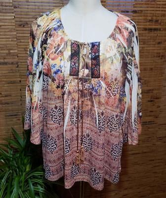 One World Knit Shirt Size Large L Keyhole Tie Kimono Sleeve NWOT Kimono Sleeve Knit Shirt