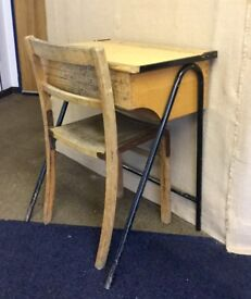 Vintage school desk 1950's wooden with metal legs