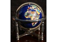 World Globe in Stones on 2 Axis Brass Frame