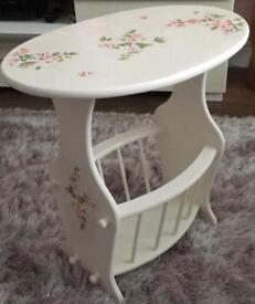 Unique Shabby Chic Side Table/ Storage Rack