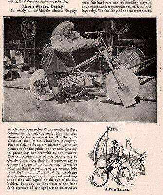 1896 AD PHOTO BIKER CHICK PHOTO PUEBLO HARDWARE CO BLOOMER NASE AUTO GEAR