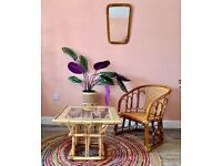 Mid Century Modern Tiki Boho Chic Cane /Bamboo /Rattan / Coffee/ Occasional/ Conservatory Table