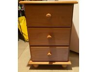 2 x new pine wood bedside table drawers