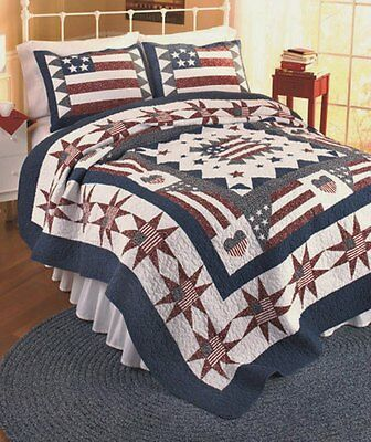 GREAT AMERICA Full / Queen QUILT SET : HEART RED WHITE BLUE FLAG PATRIOTIC STAR ()