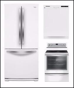 LIQUIDATION! Kit cuisine blanc : Frigo 30'', cuisinière 30'' et lave-vaisselle 24''