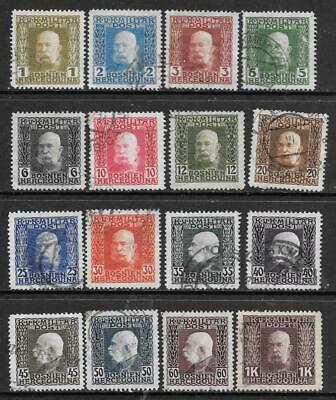BOSNIA & HERZ. - 1912. Francis Joseph I Definitives - 16 x Used.  Various to 1k.