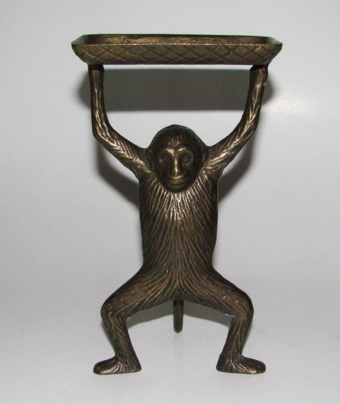 Standing Monkey Holding Tray Brass Business Card Holder