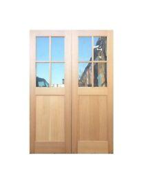 Double Doors- Oak Veneer Half Glazed -Clear