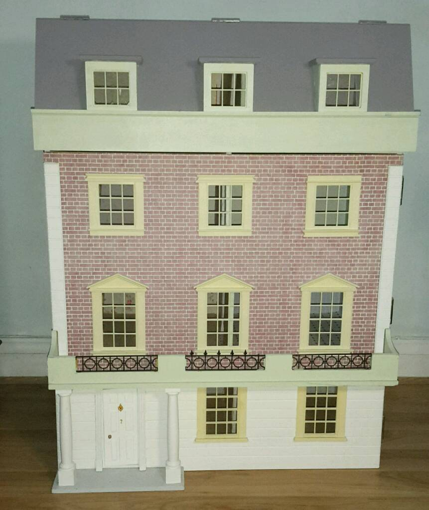 Large Dolls House 4 Stories 8 Rooms Stairs Attic W68cm D39cm H87