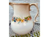 Vintage cottage style floral large jug