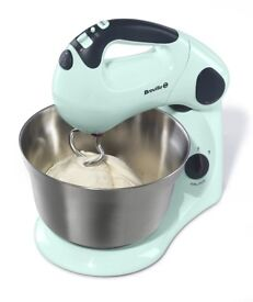 BREVILLE KITCHEN STAND MIXER PISTACHIO MINT BLUE COST £60 EXCELLENT USED CONDITION