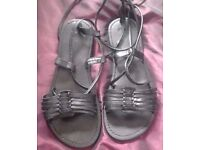 Ladies Black Tie Up Real Leather Flat Gladiator Strappy Sandals.Size 4