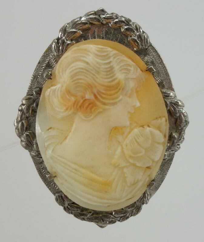 vtg Victorian ladies oval shell cameo pin brooch silvertone EUC 1 3/4""