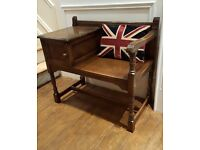 solid oak carved hall telephone seat with cupboard