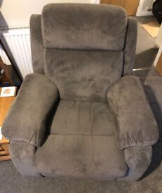 Fabric recliner chair - grey