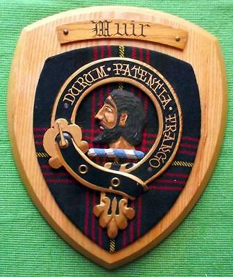 Vintage Scottish Clan Muir Tartan Heavy Oak Plaque Crest Shield