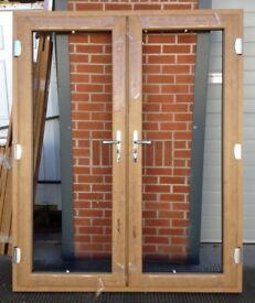 BRAND NEW LIGHT OAK UPVC FRENCH DOORS 1500MMX2100MM SUPPLY ONLY