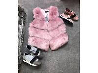 BNWT pink faux fur gilet sizes 8-16