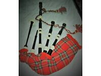 Bagpipes by Hardie's of Glasgow with accessories, carry case and practice chanter