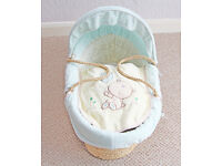 LOLLIPOP LANE TREACLE AND BUBBLE MOSES BASKET WITH MATTRESS, SUITABLE FOR BOY OR GIRL