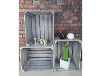 6 Wooden Crates WHITE,GREY,BLACK Fruit Apple Box Vintage Home Decor Cleaned Vintage Style!