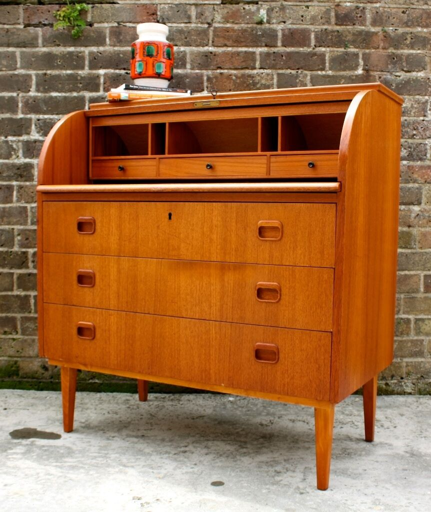 scandinavian mid century teak bureau desk sideboard. Black Bedroom Furniture Sets. Home Design Ideas