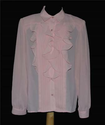 (Laura & Jane Rosy Pink Pleated Four Ruffle Front L/S Classic Blouse Wms 10 NWOT)