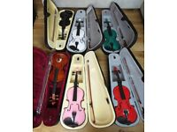 Brand new violins for sale, various colours and sizes available.