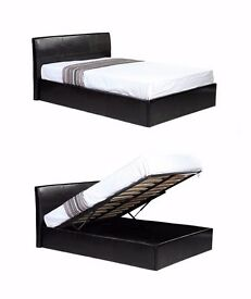 "Double Gas Lift Storage Ottoman Leather Bed w 13"" Memory Foam Mattress ""Also Avlble in Single n King"