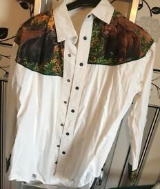 Men's hand made shirt featuring bears on the shoulders.