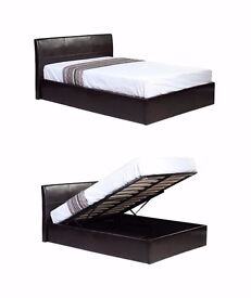 """BRAND NEW DOUBLE LEATHER STORAGE GAS LIFT UP BED FRAME WITH 10"""" THICK WHITE ORTHOPEDIC MATTRESS ="""