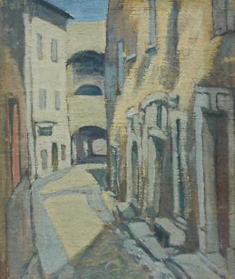 Antique Oil on Canvas Board of a European Street or Alley Scene - Unsigned