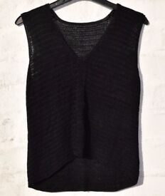 Ladies Black Woven V-neck Vest / Tank Top C32""