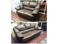 antique brown coloured leather 3 seater and 2 seater sofa suite