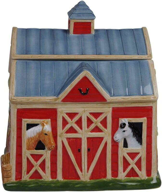 Susan Winget Horse Barn Cookie Jar Clover Farm 28159 Ceramic Certified Intl