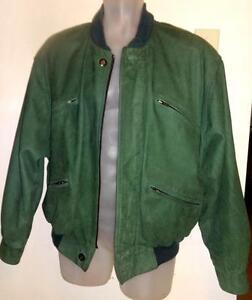 HOLT RENFREW Mens 38 40 M LEATHER JACKET Dark Green Bomber Short Spring Coat Varsity Collegiate NICE QUALITY Oakville