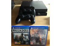 PS4 with x2 controllers and games