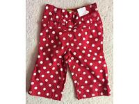 Girls NEXT BNWT Red & White Polka Dot Summer 3/4 short trousers