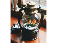 Glitter Water Spinner Lantern Warm LED With Robin Scene, New Condition Boxed