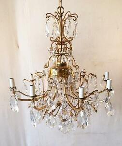 Vintage Brass And Crystal 8 Arm Chandelier
