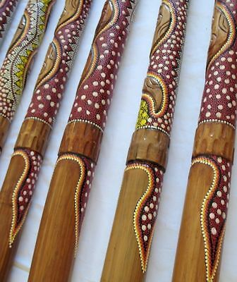 ABORIGINAL DIDGERIDOO SNAKE HANDCARVE & DOT-PAINT+BAG+BEESWAX+FREE WORLD SHIP !