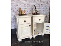 Pair of bedside cabinets solid Pine Hand painted Annie Sloan chalk paints